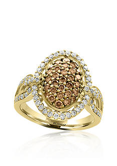 Effy 1.11 ct. t.w. Espresso and White Diamond Ring in 14K Yellow Gold