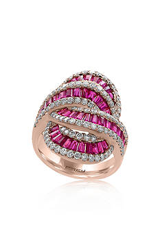 Effy Baguette Ruby & Diamond Ring in 14K Rose Gold