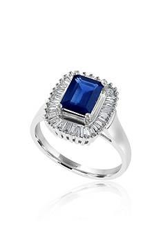 Effy Emerald Cut Sapphire & Diamond Ring in 14K White Gold