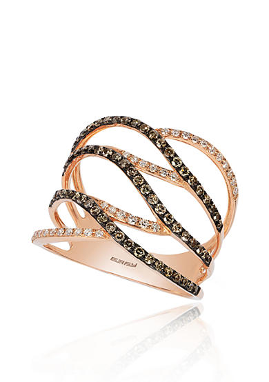 Effy® Espresso and White Diamond Ring in 14K Rose Gold