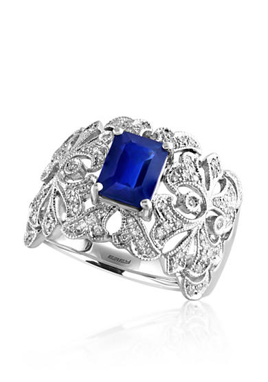 Effy® Emerald Cut Sapphire & Diamond Ring in 14K White Gold
