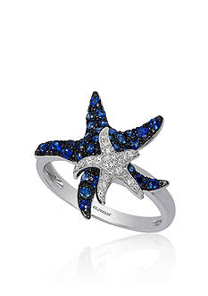 Effy Sapphire and Diamond Starfish Ring in 14K White Gold