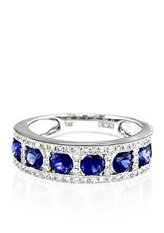 Effy Round Sapphire & Diamond Ring in 14K White Gold