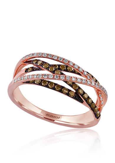 Effy® 0.47 ct. t.w. Espresso and White Diamond Crossover Band in 14K Rose Gold