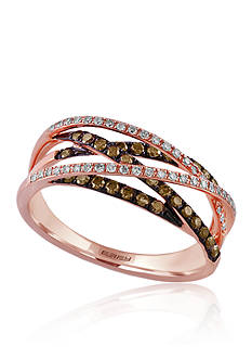 Effy 0.47 ct. t.w. Espresso and White Diamond Crossover Band in 14K Rose Gold