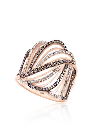 Effy® 0.84 ct. t.w. Espresso and White Diamond Swirl Ring in 14K Rose Gold
