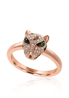 Effy 0.23 ct. t.w. Diamond & Tsavorite Panther Ring in 14K Rose Gold