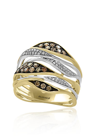 Effy® Espresso and White Diamond Ring in 14K Yellow Gold