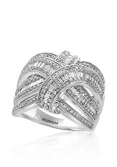 Effy Baguette Diamond Swirl Ring in 14K White Gold