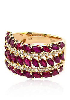 Effy® Marquise Ruby & Diamond Ring in 14K Rose Gold