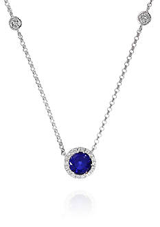 Effy Round Sapphire & Diamond Necklace in 14K White Gold