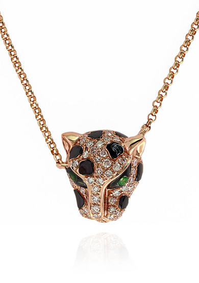 Effy® 0.18-ct. t.w. Diamond Panther Necklace in 14K Rose Gold
