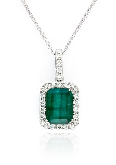 Effy® Emerald and Diamond Pendant Necklace in 14K White Gold