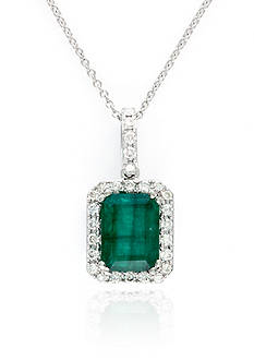 Effy Emerald and Diamond Pendant Necklace in 14K White Gold