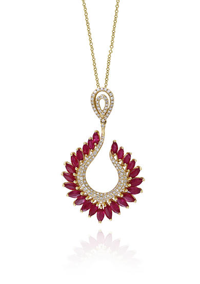 Effy® Ruby & Diamond Pendant Necklace in 14K Yellow Gold