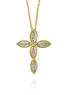 Effy Diamond Cross Pendant Necklace in 14K Yellow Gold