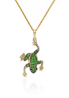 Effy Tsavorite and Diamond Frog Pendant Necklace in 14K Yellow Gold