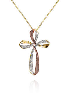 Effy Diamond Cross Pendant in 14K Yellow and Rose Gold