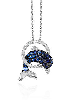 Effy Sapphire & Diamond Dolphin Necklace in 14K White Gold