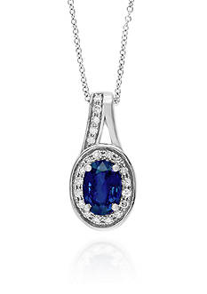 Effy Oval Sapphire & Diamond Necklace in 14K White Gold