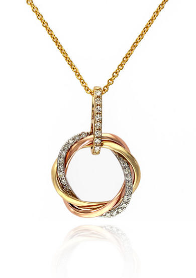 Effy® Diamond Circle Pendant in 14K Yellow Gold, White Gold, and Rose Gold