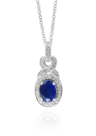 Effy® Sapphire and Diamond Pendant in 14k White Gold