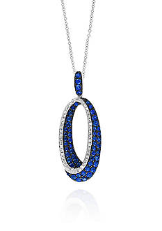 Effy Sapphire & Diamond Necklace in 14K White Gold