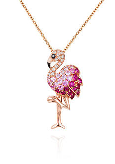 Effy Pink Sapphire, Ruby, and Diamond Flamingo Pendant Necklace in 14K Rose Gold