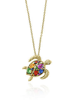 Effy Multi Sapphire Turtle Pendant in 14k Yellow Gold