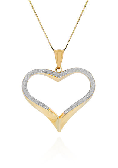 Belk & Co. Open Heart Pendant in 10k Yellow Gold and Rhodium
