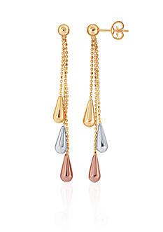 Belk & Co. 10k Yellow Gold, White Gold, and Rose Gold Teardrop Tassel Earrings