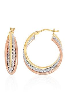 Belk & Co. Twist Hoop Earrings in 10K Tri-Plated