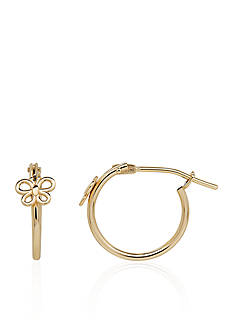 Belk & Co. Baby Butterfly Hoop Earrings in 14k Yellow Gold
