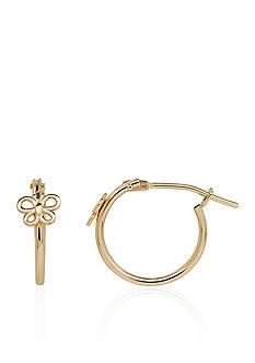 Belk & Co. Baby Butterfly Hoop Earrings in 14k Yellow Gold