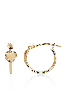 Belk & Co. Baby Heart Hoop Earrings in 14k Yellow Gold