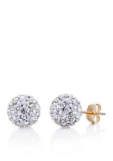 Belk & Co. Crystal Ball Earrings in 14K Yellow Gold