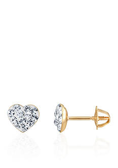 Belk & Co. Crystal Heart Baby Studs in 14k Gold