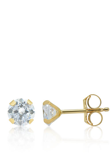 Belk & Co. Cubic Zirconium Stud Earrings in 14K Yellow Gold