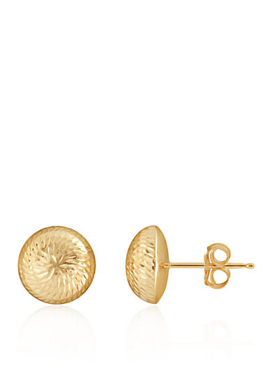 Belk & Co. Button Earrings in 14K Yellow Gold