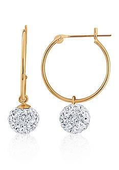 Belk & Co. Hoop & Crystal Ball Earrings in 14K Yellow Gold
