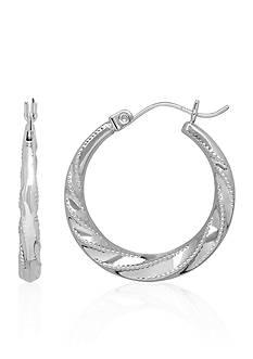 Belk & Co. Swirl Hoop Earrings in 14K White Gold