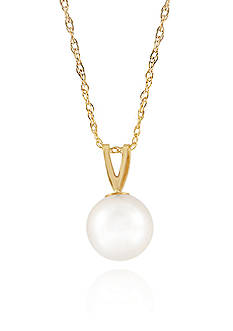 Belk & Co. Freshwater Pearl Pendant in 14K Yellow Gold