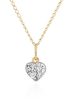 Belk & Co. Baby White Crystal Heart Pendant in 14k Yellow Gold