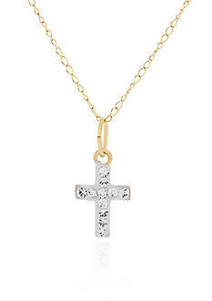Belk & Co. Baby White Crystal Cross Pendant in 14k Yellow Gold