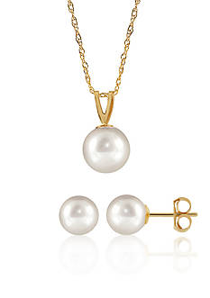 Belk & Co. Freshwater Pearl Necklace and Earrings 2-Piece Set in 14K Yellow Gold