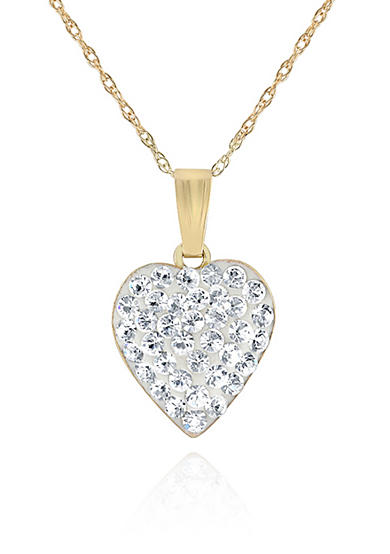 belk co crystal heart pendant necklace in 14k yellow