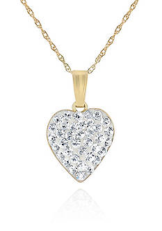 Belk & Co. Crystal Heart Pendant Necklace in 14K Yellow Gold
