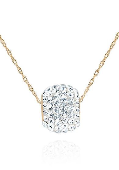 Belk & Co. Crystal Pendant Ball Necklace in 14K Yellow Gold