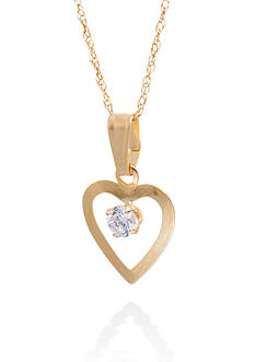 Belk & Co. Cubic Zirconia Pendant Necklace in 14K Yellow Gold