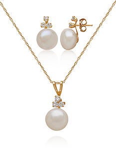 Belk & Co. Freshwater Pearl 2-Piece Set in Sterling Silver